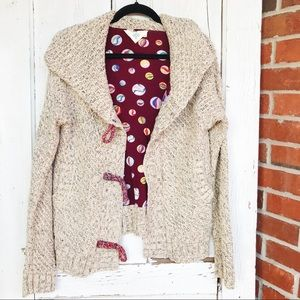 Anthropologie Monogram HWR Tassel Heavy Cardigan